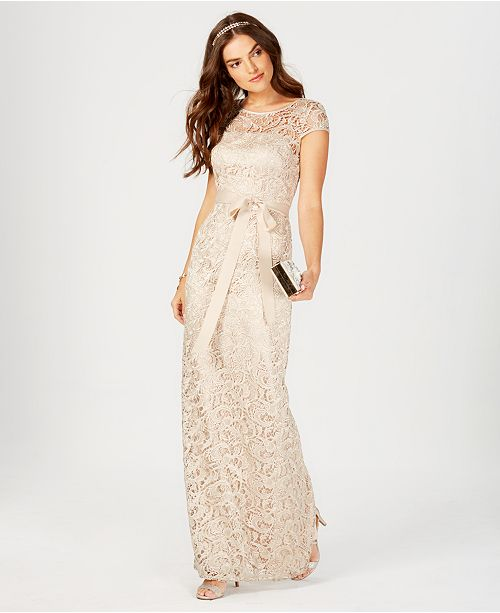 f17d1d271050 Adrianna Papell Cap-Sleeve Illusion Lace Gown & Reviews - Dresses ...