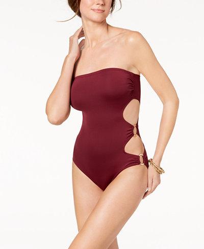 Vince Camuto Cut-Out Side Bandeau One-Piece Swimsuit