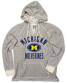 Blue 84 Women's Michigan Wolverines Striped Terry Hooded Sweatshirt