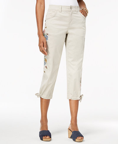 Style & Co Petite Embroidered Cropped Cargo Pants, Created for Macy's