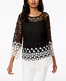 Charter Club Two-Tone Lace Top, Created for Macy's