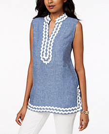 Charter Club Petite Embroidered Linen Tunic, Created for Macy's