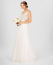 Wedding dress dresses for women macys adrianna papell beaded illusion gown junglespirit Image collections