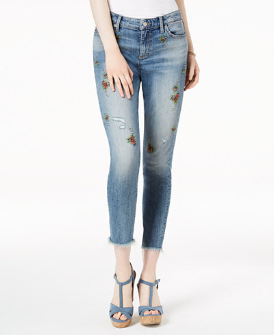 Lucky Brand Ava Embroidered Skinny Cropped Jeans