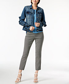 I.N.C. Ruffled Jacket, Draped Top & Cropped Pants, Created for Macy's