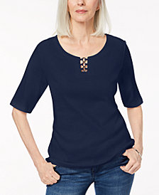 Karen Scott Petite  Ring-Hardware Elbow-Sleeve Top, Created for Macy's
