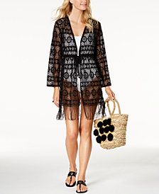 Dotti Frilly Fringe Crochet Kimono Cover-Up
