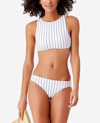 STUDIO Anne Cole Striped High-Neck Bikini Top & Bottoms