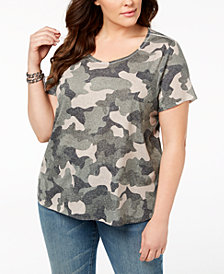 Style & Co Plus Size Camo-Print T-Shirt, Created for Macy's