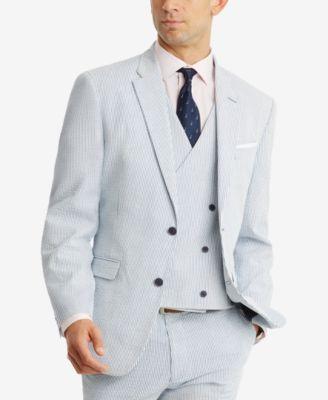 CLOSEOUT! Men's Modern-Fit THFlex Stretch Blue/White Stripe Seersucker Suit Jacket