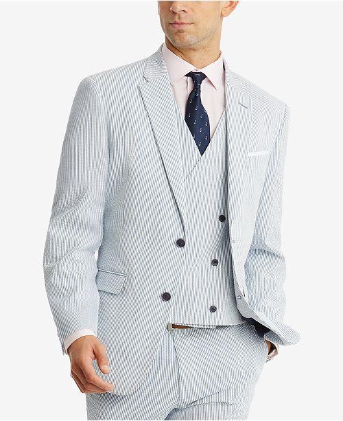 f62dead5b0b2 Men s Modern-Fit THFlex Stretch Blue White Stripe Seersucker Suit ...