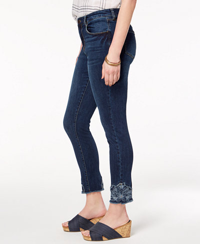 Style & Co Embroidered Ankle Skinny Jeans, Created for Macy's