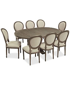 Tristan Round Expandable Dining Furniture, 9-Pc. Set (Table & 8 Side Chairs)