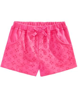 Cotton Eyelet Shorts, Baby Girls
