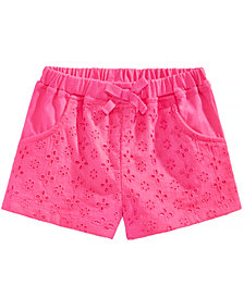 First Impressions Cotton Eyelet Shorts, Baby Girls
