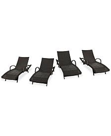 Hayden Outdoor Chaise Lounge (Set Of 4), Quick Ship