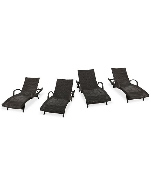 Furniture Hayden Outdoor Chaise Lounge (Set Of 4), Quick Ship