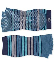 Gaiam Striped Grippy Toeless Yoga Socks