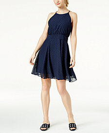 Maison Jules Dotted Fit & Flare Dress, Created for Macy's