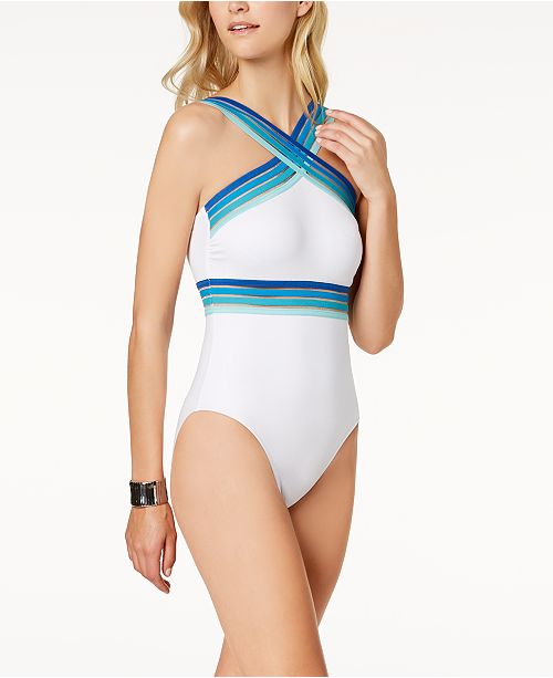 a19ac2f0d59ca ... Kenneth Cole Stompin  In Stilettos One-Piece Illusion-Striped Swimsuit  ...