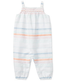 Polo Ralph Lauren Striped Cotton Romper, Baby Girls