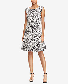 Lauren Ralph Lauren Petite Floral-Print Fit & Flare Dress
