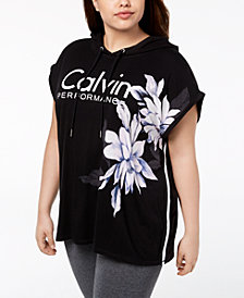 Calvin Klein Performance Plus Size Floral-Print Sleeveless Hoodie