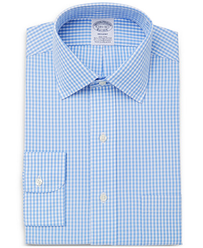 Brooks Brothers Men's Classic/Regular Fit Non-Iron Stretch Gingham Dress Shirt