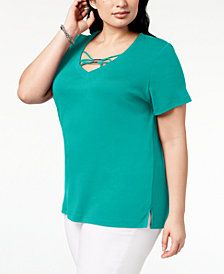 Karen Scott Plus Size Hardware T-Shirt, Created for Macy's