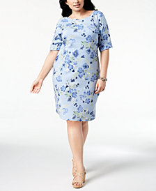 Karen Scott Plus Size Floral-Print Sheath Dress, Created for Macy's