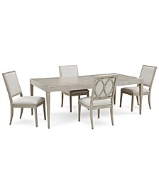Rachael Ray Cinema Expandable Dining 5-Pc. Set (Rectangular Dining Table & 4 Side Chairs)