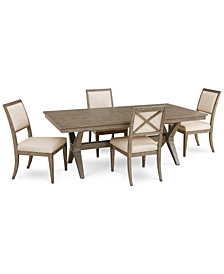 Bridgegate Rectangular Expandable Dining Furniture, 5-Pc. Set (Dining Table & 4 Upholstered Back Side Chairs)
