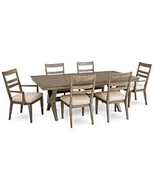 Bridgegate Rectangular Expandable Dining Furniture, 7-Pc. Set (Dining Table, 4 Slat Back Side Chairs & 2 Slat Back Arm Chairs)