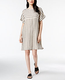 Eileen Fisher Organic Cotton Blend Striped Cuffed-Sleeve Dress