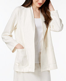 Eileen Fisher Silk Blend Collarless Textured Jacket
