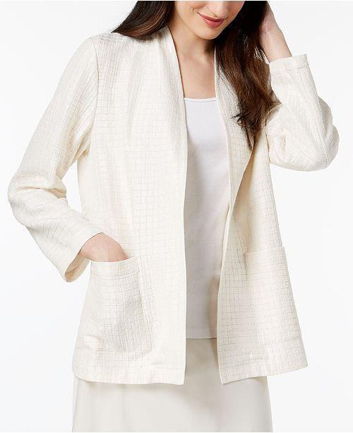 Eileen Fisher Silk Blend Collarless Textured Jacket
