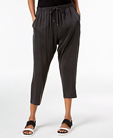 Eileen Fisher Silk Slouchy Drawstring-Waist Pants
