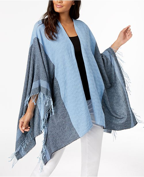 Eileen Fisher Cotton Jacquard Poncho