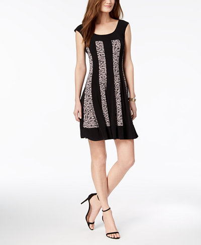 Connected Petite Printed-Stripe A-Line Dress