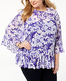 MICHAEL Michael Kors Plus Size Printed Bell-Sleeve Blouse