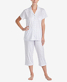 Eileen West Cotton Printed Cropped Knit Pajama Set