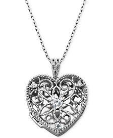 "Giani Bernini Cubic Zirconia Openwork Filigree Heart Locket 18"" Pendant Necklace, Created for Macy's"