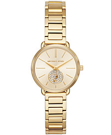 Michael Kors Women's Petite Portia Gold-Tone Stainless Steel Bracelet Watch 28mm