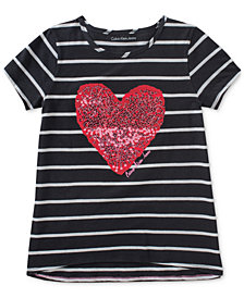 Calvin Klein Striped Sequin Heart Cotton T-Shirt, Big Girls