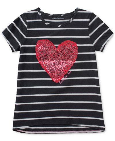 Calvin Klein Striped Sequin Heart Cotton T-Shirt, Big Girls