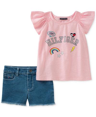 Tommy Hilfiger 2-Pc. T-Shirt & Denim Shorts Set, Little Girls