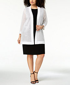 Kasper Plus Size Striped-Mesh Pointelle Cardigan