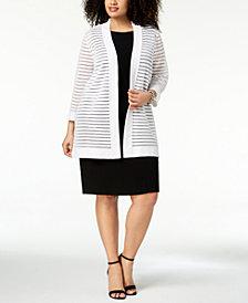 Kasper Plus Size Striped-Mesh Pointelle Cardigan