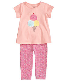 First Impressions Ice-Cream Tunic & Printed Leggings Separates, Baby Girls, Created for Macy's
