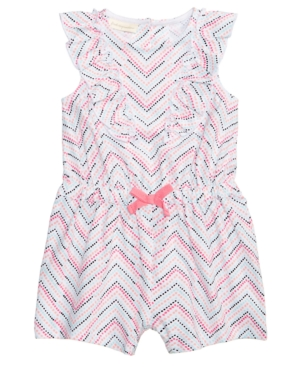 First Impressions ChevronStripe Cotton Romper Baby Girls Created for Macys